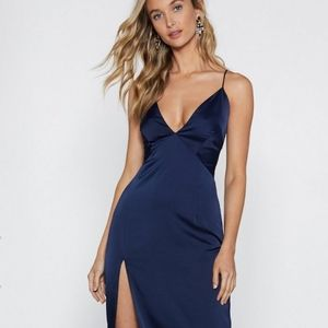 Nasty Gal Look At You Navy Satin Slip Dress Size 4